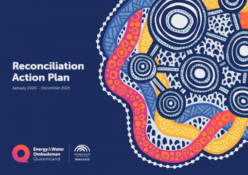 The cover of the 2020-2021 reconciliation action plan - title and aboriginal motif on purple background